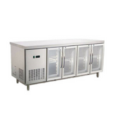 Commercial 4 Glass Door 450L Worktop Bench Refrigerator 304 Stainless Steel