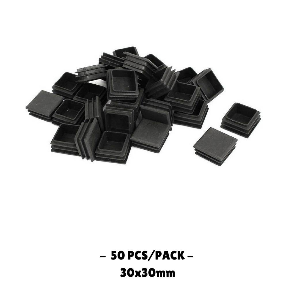 30x30mm Plastic Square Blanking End Caps Tube Inserts