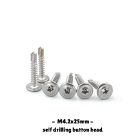300PCS Self-Drilling Stainless Button Head Screws M4.2x25mm