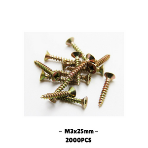 2000pcs M3x25mm self tapping zinc metal screws