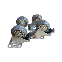 4PCS 4'' 100 mm Rubber Swivel heavy duty Caster Wheels 800 kg load 2 with Brakes