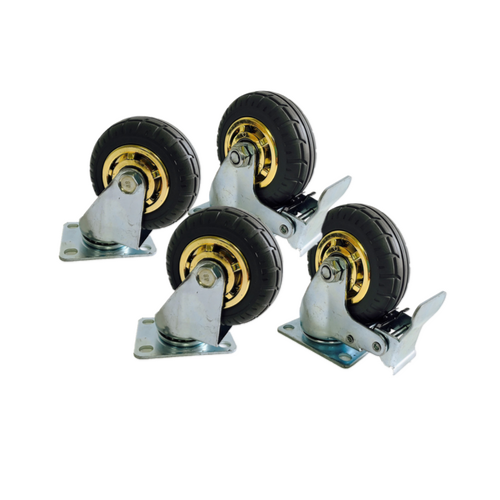 4PCS 3'' 75 mm Rubber Swivel heavy duty Caster Wheels 360 kg load 2 with Brakes