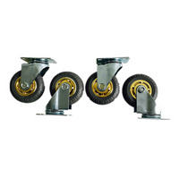 4PCS 3'' 75 mm Rubber Swivel heavy duty Caster Wheels 360 kg load