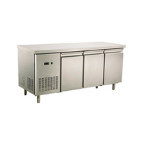 Commercial Fridge Worktop Bench 3 Door 380L 304 Stainless Steel