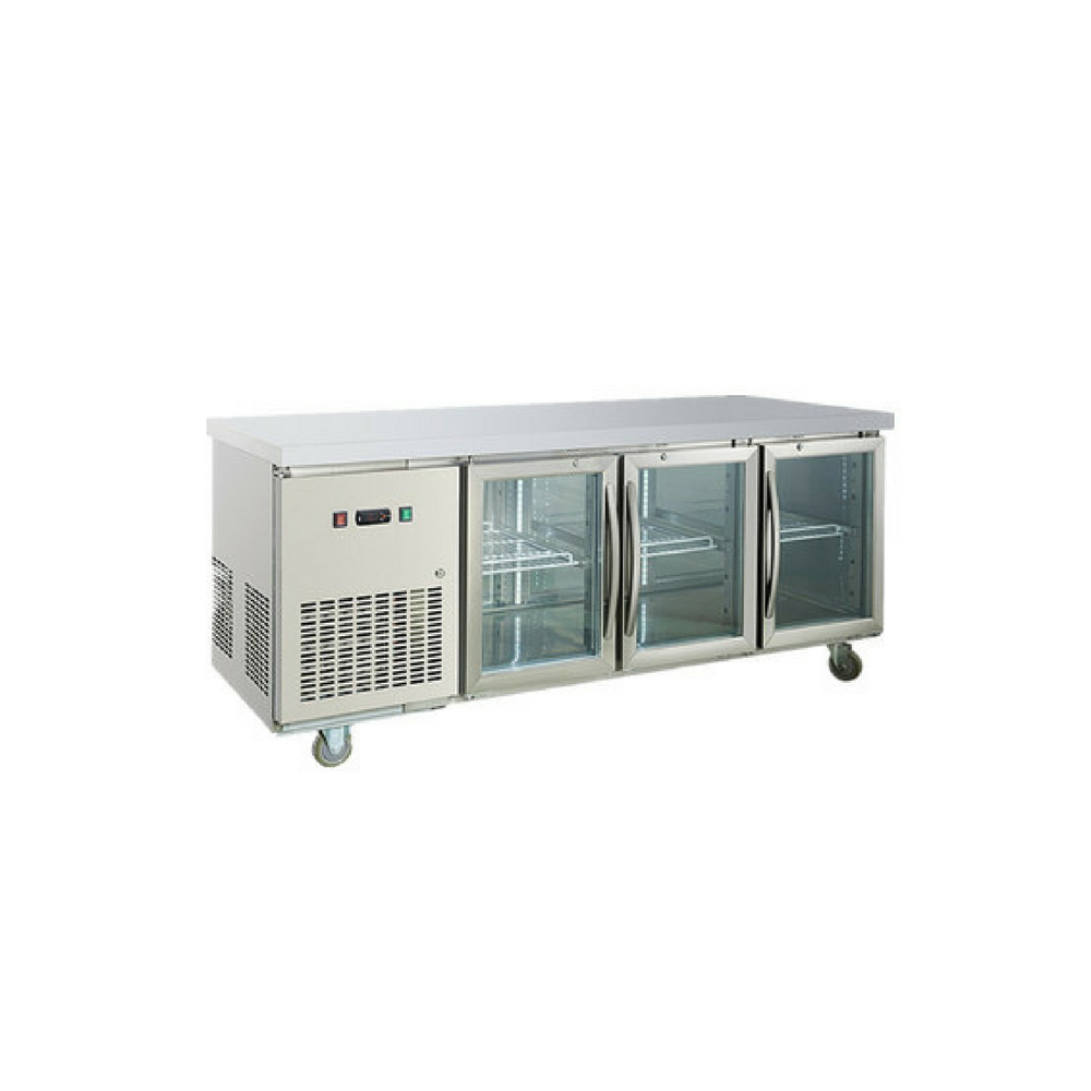 Commercial Worktop Bench Fridge 3 Glass Door 408L 304 Stainless Steel