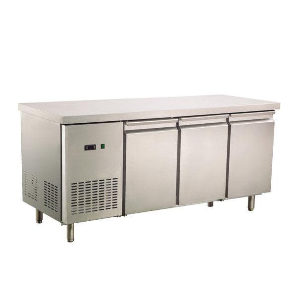 Commercial Worktop Bench Fridge 3 Solid Door 408L 304 Stainless Steel