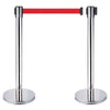 2 x Chrome Retractable Queue Crowd Barriers