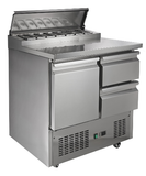 Pizza Prep Table Refrigerator Double Door; Stainless steel 304