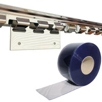 DIY OVERLAP FREEZER PVC Strip Door Curtain Kit - 50M Roll - 1000MM Bracket