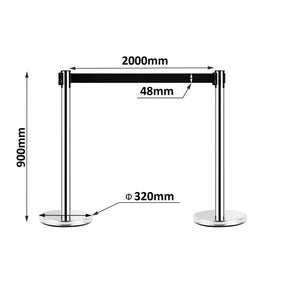 2 Chrome Retractable Crowd Control Queue Barriers 2m Strip