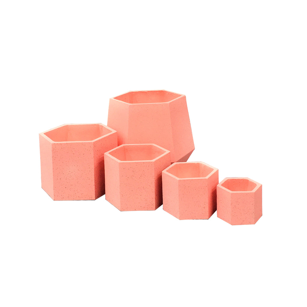 Pink outdoor pots