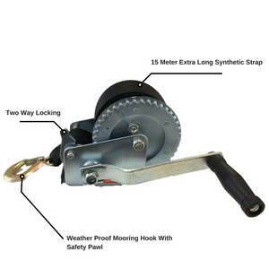 1200LB/1200LBS Hand Winch 2-ways 15 Meter Synthetic Strap Manual Car Boat Trailer 4WD