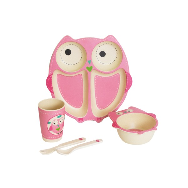 Children's Bamboo Dinner Set OWL