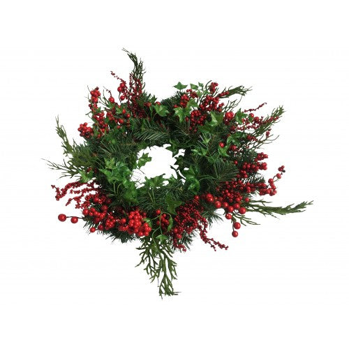 Green Leaves and Red Berry Wreaths 46cm
