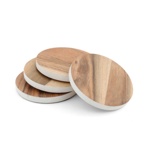 White  Rim Wood Coaster Set of 4
