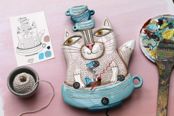 Tea Cat Clock 39cm