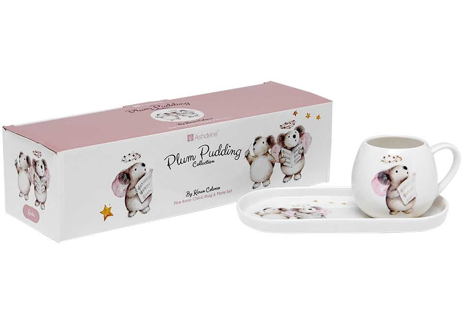 Plum Pudding Koalas Mug & Plate Set