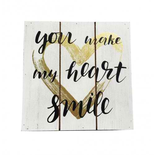 You make my heart Smile Wood Block 15cm