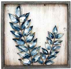 Wall Art Metal Leaves 46cm Frame