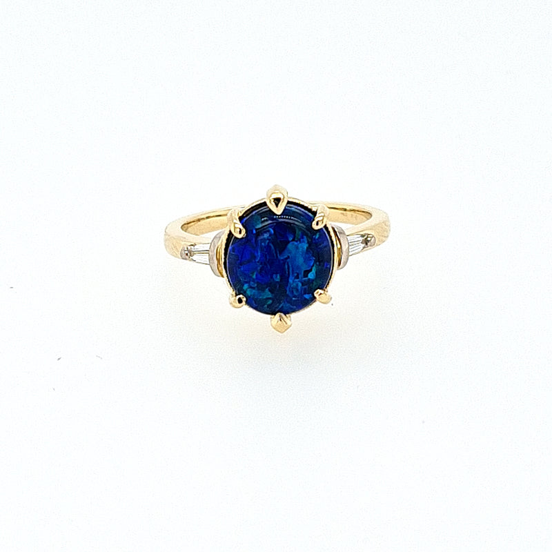 Lightening Ridge Opal Ring in 18ct Yellow Gold