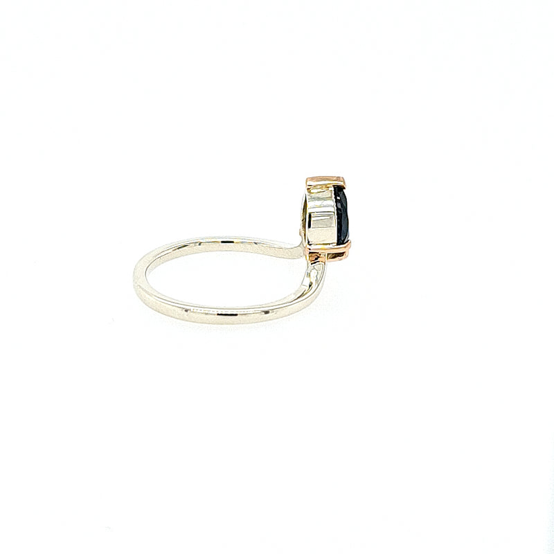Australian Parti Sapphire Ring in 9ct White Gold and Rose Gold