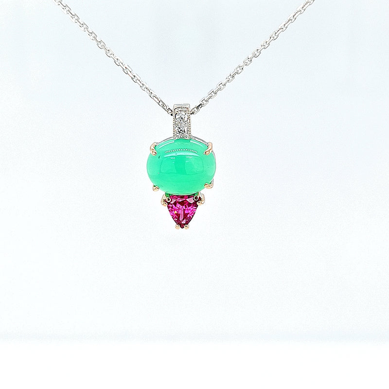 Chrysoprase Pendant with Pink Spinel and Diamonds