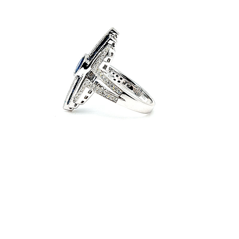 Sapphire and Diamond Art Deco Style Ring in 18ct White Gold