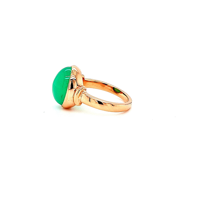 Chrysoprase Cabochon Signet Ring 9ct Rose Gold