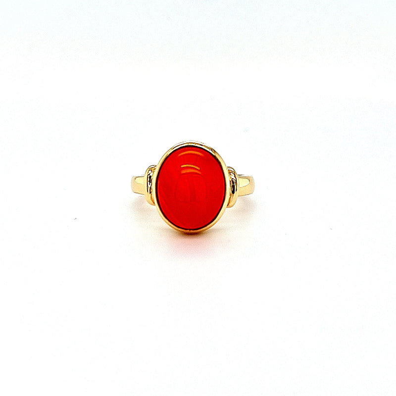 Carnelian Cabochon Signet Ring 9ct Yellow Gold