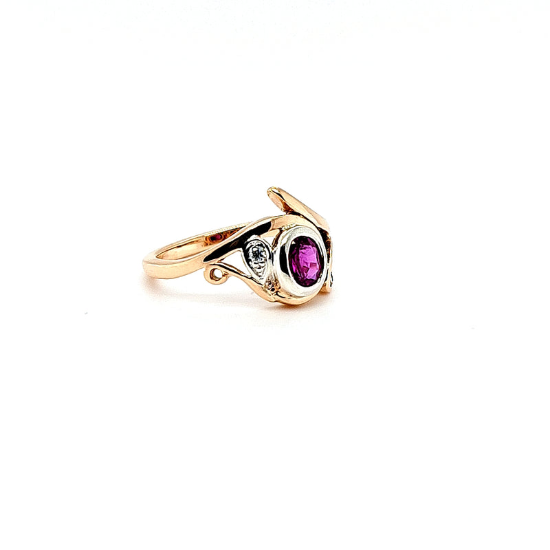 Sapphire Pink Three Swirl Ring in Rose Gold with Diamonds