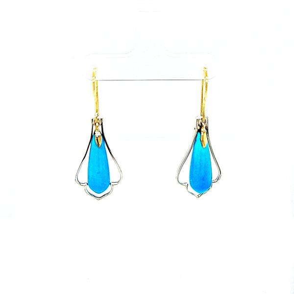 Sleeping Beauty Turquoise Gold Drop Earrings