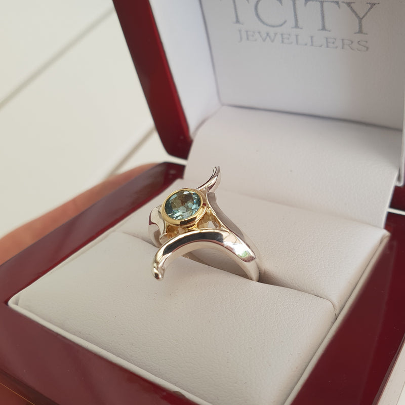 Silver Gold Aquamarine Ring