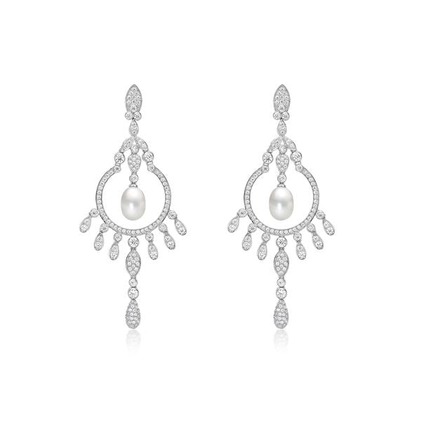 Silver Chandelier Freshwater Pearl Stone Set Earrings