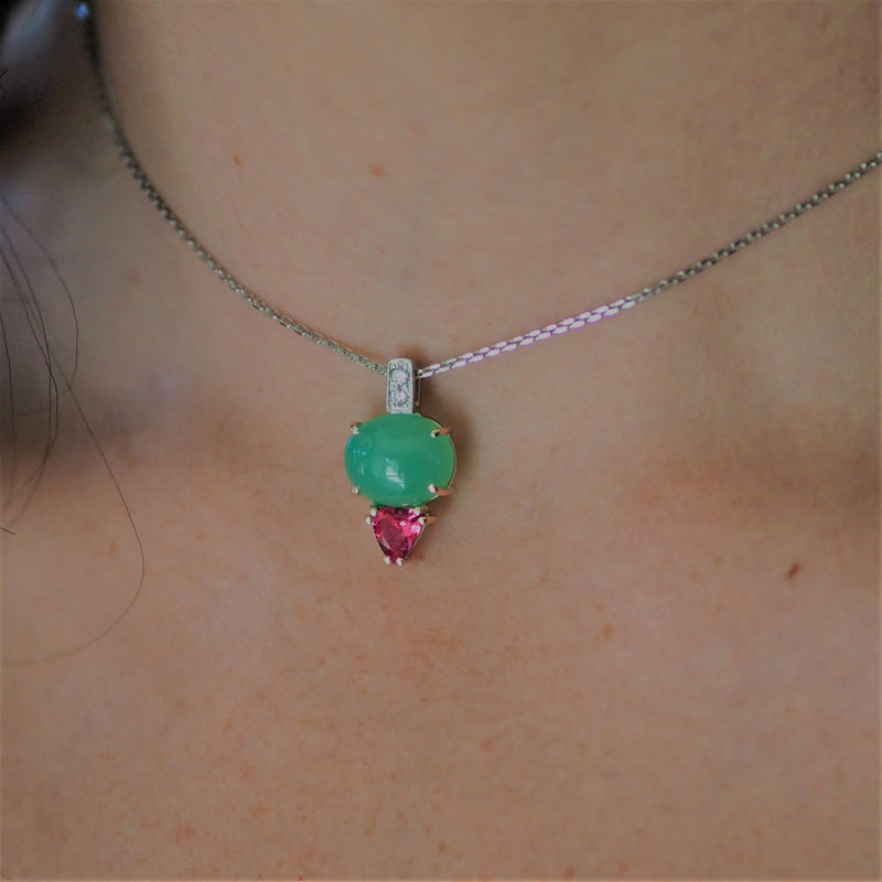 Chrysoprase Spinel Diamond Pendant