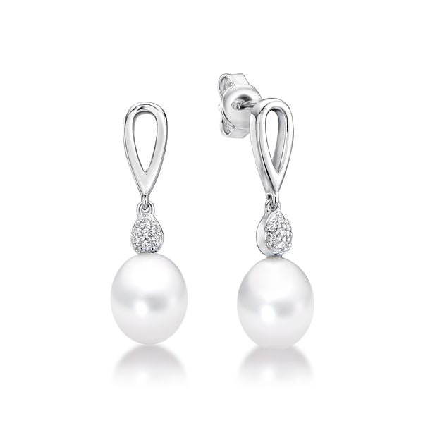 Silver Freshwater Pearl Drop Studs