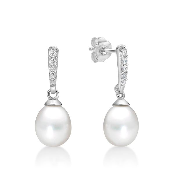 Silver Freshwater Pearl Tapered Stud Earrings