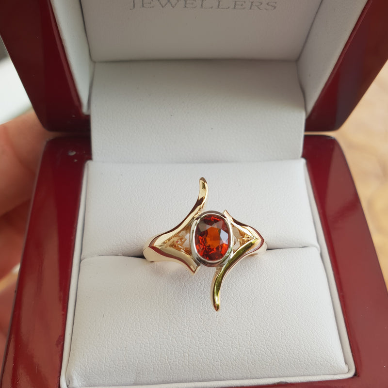 Red Garnet Gold Ring