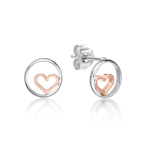 Silver Circle with Rose Heart Studs