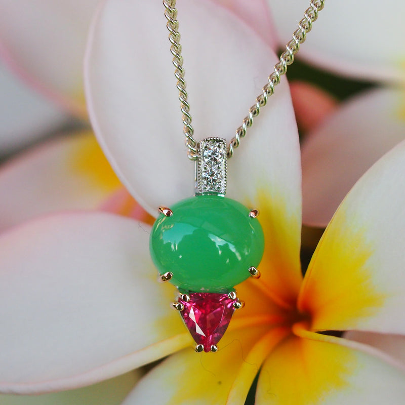 Chrysoprase Pendant Spinel Diamond