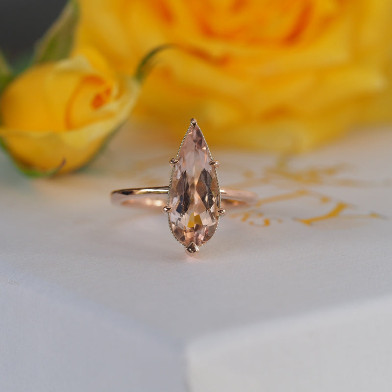 Pear Morganite Ring