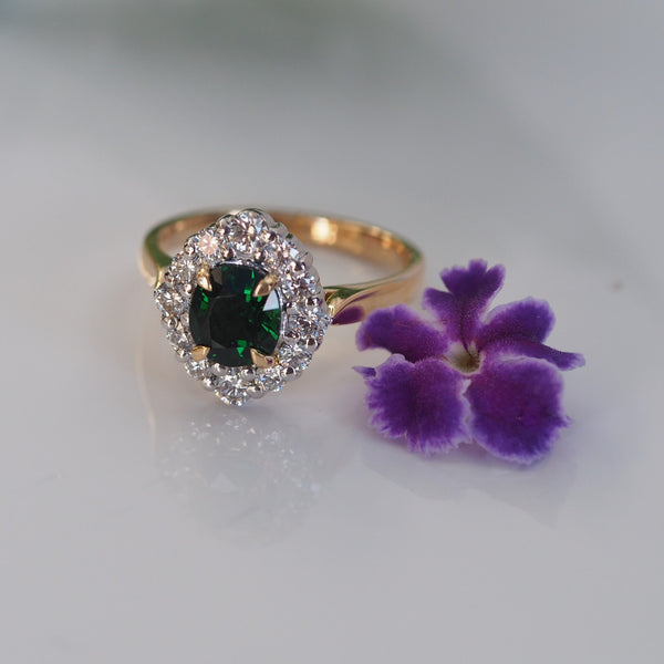 Tsavorite Garnet Diamond Cluster Ring