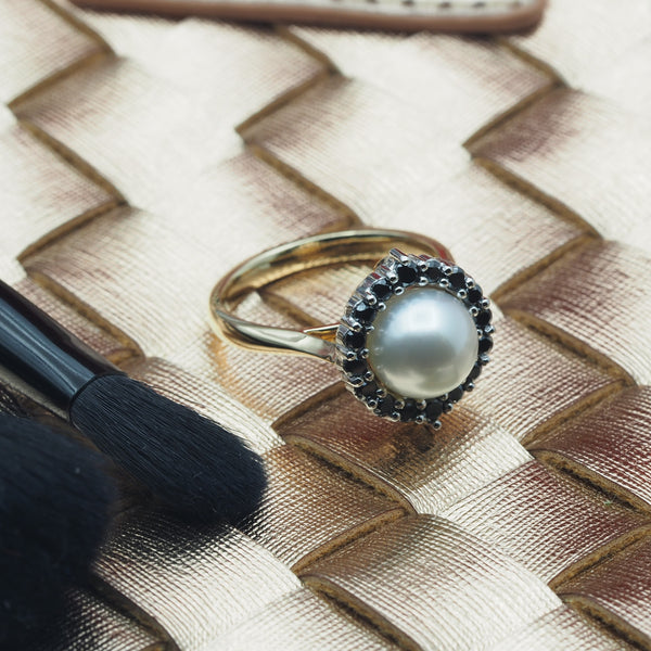 South Sea Pearl and Black Diamond Ring