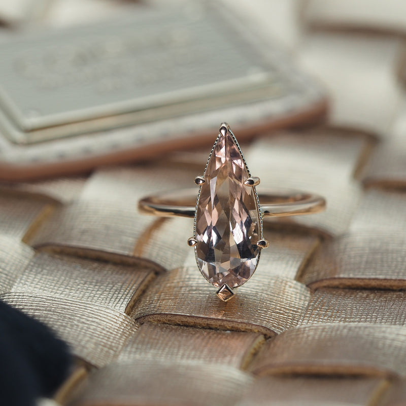 Pear Morganite Ring in 9ct Rose Gold