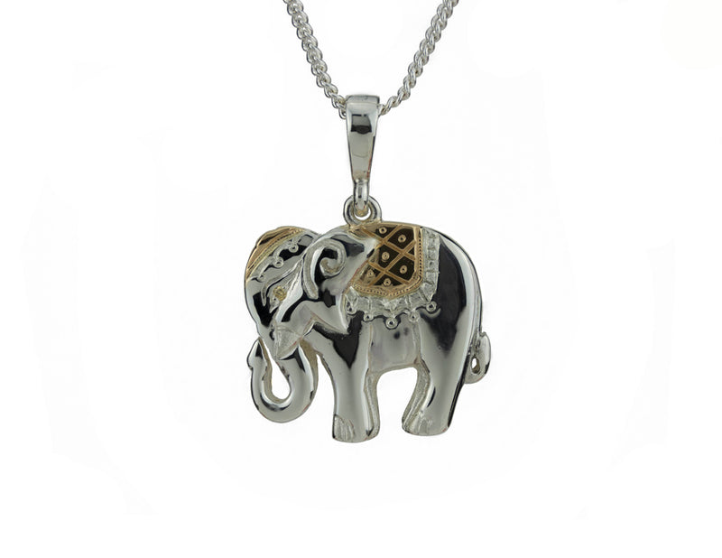 Silver Yellow Gold Elephant Pendant Diamond Eye Hand Engraved