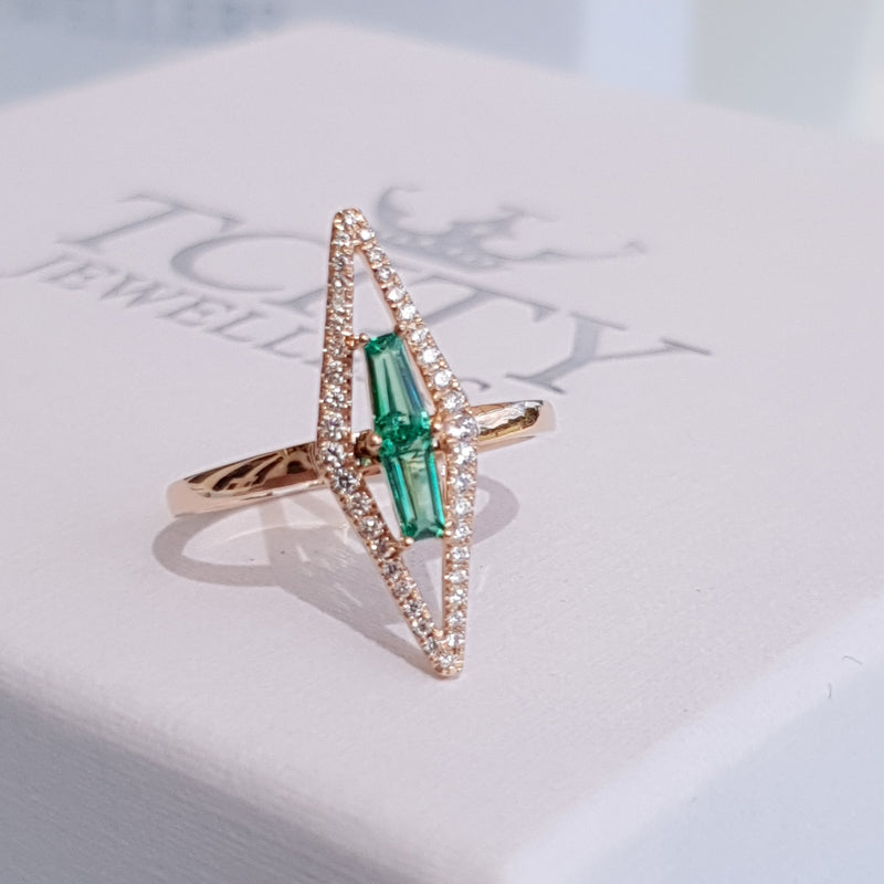 Green Stone Diamond Rose Gold Ring
