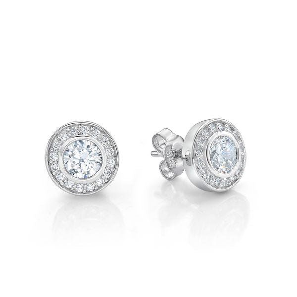 Silver Stone Round Cluster Studs