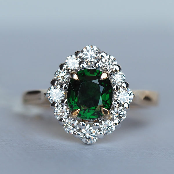 Green Garnet Diamond Hand Made Gold Ring