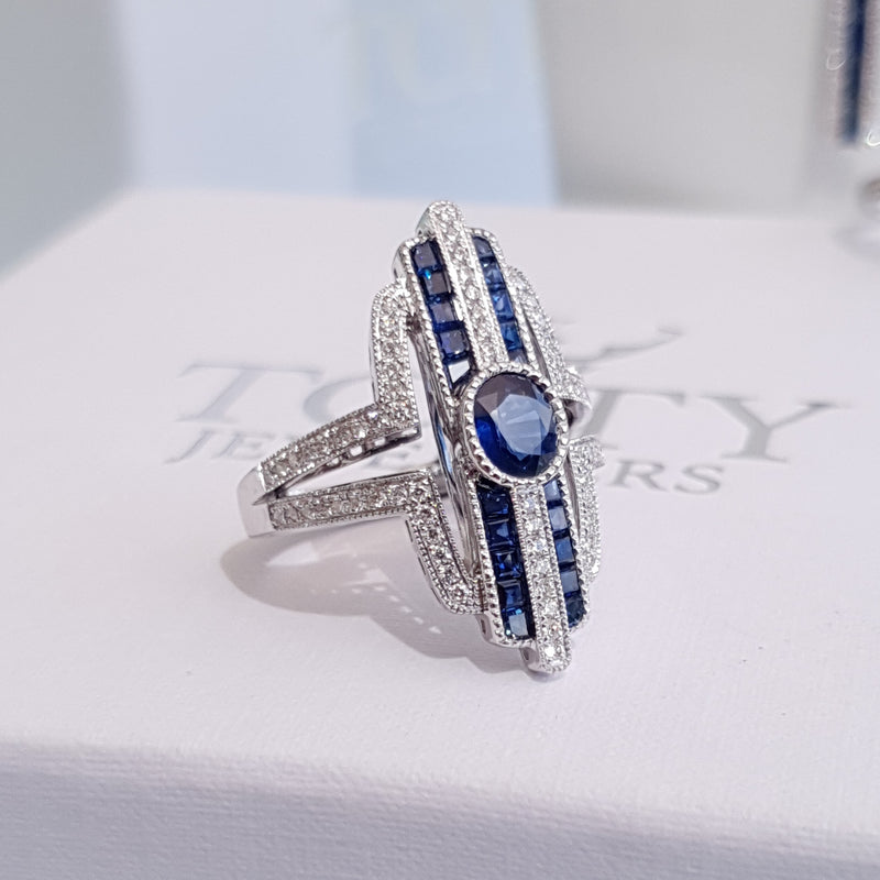 Sapphire Diamond White Gold Art Deco Ring