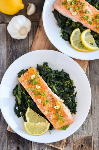 Baked Salmon and Garlic Spinach - Adrenal Fatigue Food