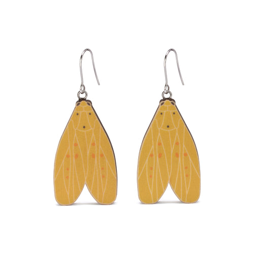 Agape chloropyga yellow Australian moth earrings wooden jewellery